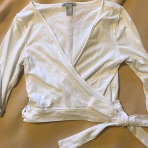 Wrap front long sleeve crop top (M)